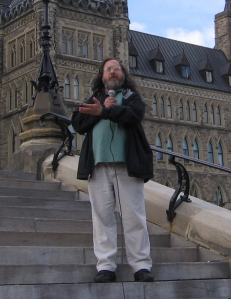 Richard Stallman on the steps of Parliament Hill, Ottawa, Canada