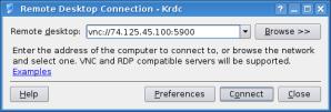 krdc - configure connection