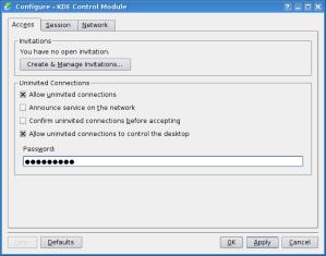 krfb - configure connections